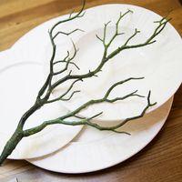 ingrosso albero artificiale falso-Fogliame finto piccolo ramoscelli naturale secco PVC Manzanita secco rami di piante artificiali verde ramo nero per la decorazione di nozze 4zg KK