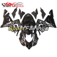 Black Silver Flames Carénages pour Kawasaki ZX10R 04 05 2004 2005 Injection ABS Plastic Motorcycle Bodywork Cowlings Body Kit Carenes