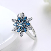 blue jewelery Canada - Elegant Queen Fashion 100% 925 Sterling Silver Blue Snowflake Cubic Zircon Rings Party Evening Women's Rings Bride Wedding Jewelery Gifts