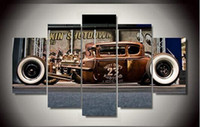 Wholesale Antique Impressionist Painting - 5 Panel Framed Printed Antique classic car Group Painting room decor print poster picture canvas decoration coloring