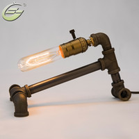 Wholesale Lamps Edison Bulb Table - Wholesale- Vintage Edison Bulbs Table Lamp Black Iron Base Water Pipe Desk Lamp lighting