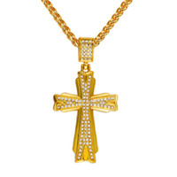 2017 Bling Gold Crystal Rhinestone Cross Pendentif Collier Hip Hop Style Homme Bar Club Long Chain Wholesale (Bigger Size) Men Gift