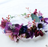 Wholesale Wreath Sunflower - Children wreath stereo sunflowers simulation bridesmaid garlands European and American style girls beach holiday princess headwear R1027