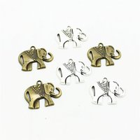 Wholesale Metal Baby Charms - Sweet Bell Min order 30pcs 21*25mm Antique Silver Metal Lovely Baby elephant Jewelry Pendant Fit Jewelry Making Charms D0240