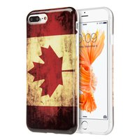 Wholesale Iphone Flag Back Covers - Canada Flag Soft Case for iPhone 8 7 Plus 7Plus 5.5 inch Rubber TPU Vintage Phone Back Cover