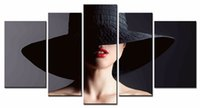 Wholesale Beautiful Hat - New Wholesale 5 PCS Set of beautiful women with black hat canvas wall painting for sofa background decor high quality pictures Unframed