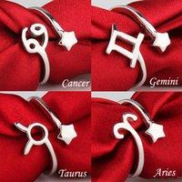ingrosso anelli zodiacali moda-Moda dodici 12 costellazioni S925 anello d'argento segno zodiacale anelli di apertura per le donne retrò anelli di barretta delle coppie
