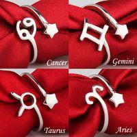tierkreis ringt mode großhandel-Mode zwölf 12 Sternbilder S925 Silber Ring Sternzeichen Eröffnung Ringe für Frauen retro Paar Fingerringe