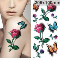 Wholesale Flower Butterflies Tattoos - Fashion Waterproof Temporary Tattoo Sticker 3D rose flower Butterfly fake tattoo for girl women free ship