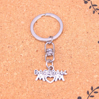 Wholesale antique solid silver - New Fashion baseball mom heart Keychains Antique Silver plated Keyholder fashion Solid Pendant Keyring gift