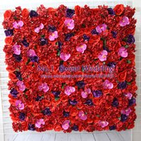 Wholesale Orchid Led - Artificial flower wall for wedding backdrop rose hydrangea orchid hydrangea orchid lawn pillar road lead decoration 10pcs lot