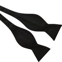 Wholesale Solid Black Bowties - Black Italian Satin Plain Paisley Ascot Bow Tie Wedding Bowties Self Tie Bow Ties Many Color