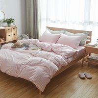 100 cotton muji style bed cover set 4pcs super soft jersey knit bedding sets king size sweet pink white stripe blanket cover uk - King Size Blanket