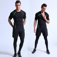 Wholesale Tight Black Stretch Pants - Men running sets men compression tight suits adult stretch fitness workout 3 piece sets tops+pants+shorts male sportswear