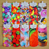 Wholesale Character Socks - 3D Printed socks European and American character harajuku socks Unisex Cartoon Fruit food Pattern Sock Free Shipping A-0470