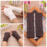 Wholesale Knit Opera - Ms wholesale twist short arm cuff wool knitted gloves