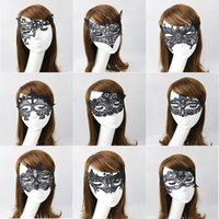 Venda Por Atacado-Venda 3 Pcs Mulheres Sexy Black Lace Retro Fox Oco Out Eye Mask Masquerade Máscaras Party Halloween Carnival