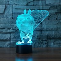 Venta al por mayor- ardilla 3D LED Lampe iluminación tacto 7 color interruptor Luminaria escritorio Lava lámpara para niño acrílico dormitorio decoración regalo USB LED lámpara