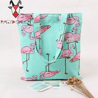 Wholesale Bags School Sheep - Wholesale- Raged Sheep Fashion Flamingo tote bag School handbag Environmental protection shopping bag shoulder bags Women travel tote