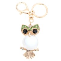 Wholesale Hollow Out Couple Ring - Hot Sale Colorful Rhinestone Couple Keychain Retro Cute Owl Key Ring Hollow Out Car Key Chain Fashion Jewelry