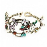 Wholesale Ladybug Jewelry Vintage - Wholesale- SL029 Hot Sales New 2017 Style Fashion Vintage Ladybug Dragonfly Flowers Color Wide Bracelets Bangles Jewelry