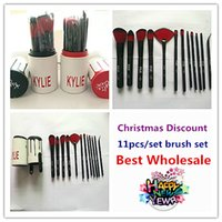 Wholesale Black Top Tools - In stock New arrival makeup brushes Kylie makeup bush 11pcs lot Kylie brush black red foundation blush powder makeup tools top quality