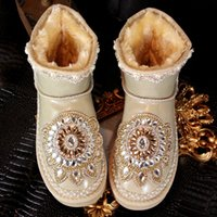 Wholesale Bridal Winter Boots - Vintage Rhinestone Bling Bling Bridal Shoes Wedding Shoe For Women Lace Ankle Length Boots Winter Warm Wear