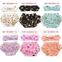 Wholesale Children S Denim Clothing - Fashion New Cute Shorts Girls Gold Polka Dots Short Pants Children Clothing Pants With Bowknot Headband Shorts Girl Hot Pant Brief A6336