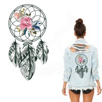 Wholesale T 28 - Black style Flowers Dreamcatcher iron on patches 28*14.78cm Diy T-shirt hoodie A-level Thermal transfer patches for clothing