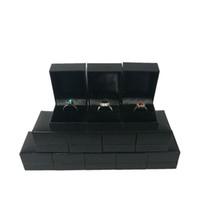 lagarto anéis venda por atacado-12 pcs preto textura lagarto leatherette anel de caixa de caixa de jóias anel de festa de noivado de casamento caixa de presente box5 * 4.5 * 3.5 cm