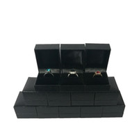Wholesale Black Ring Boxes - 12Pcs Black Lizard Texture Leatherette Ring Box Jewelry Ring Box Organizer Wedding Engagement Party Ring Gift Box5*4.5*3.5CM