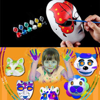Wholesale pulp face masks resale online - Hot White Unpainted Face Plain Blank Version Paper Pulp Mask DIY Mask Masquerade Masque Mask IB382