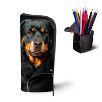Wholesale pencil case dog - Wholesale- Cool Boys Girls Pencil Case 3D Animal Rottweiler Women Cosmetic Bag Children School Supplies Dog Pen Pouch Box Kids Stationery