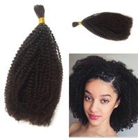 ingrosso facile crocheting-Intrecciare i capelli umani Bulk No Attachment peruviano Afro Crespi ricci crespi trecce 1 pezzo naturale nero Bulk capelli Mangia G-EASY