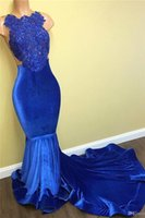 Wholesale Image Arts Photo - Jewel Applique Lace Top Mermaid Velvet Prom Dress 2017 Black Girl Sleeveless Sweep Train Long Royal Blue African Prom Dresses