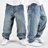 Wholesale Water Wash Jeans Male - Wholesale-Free shipping loose hiphop jeans male water wash brief hip-hop hiphop skateboard pants denim stone wash
