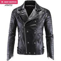 xs sahte deri ceket erkek toptan satış-Toptan-Moda erkek Kış Deri Ceketler Faux Ceket Kore Şık Slim Fit Coats Erkekler Moto Kafatası Süet Ceket Erkekler Için, m-5xl, P1