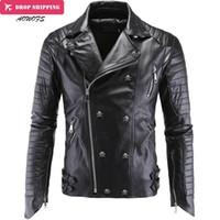 Wholesale winter coats for men fashion - Wholesale-Fashion Men's Winter Leather Jackets Faux Jacket Korean Stylish Slim Fit Coats Men Moto Skull Suede Jacket For Men ,m-5xl ,P1