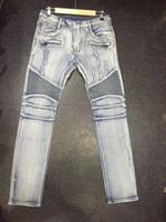 Wholesale Nwt Fashion - Wholesale- NWT Paris Men's Fashion Runway Stretch Denim Biker Light Blue Jeans Size28-38 (#1013),Epacket Fast Free Shipping