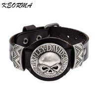 Wholesale Materials For Jewelry - Wholesale- Trendy Design Skull Shaped Bracelet Handmade Leather Material Bangle Bracelet Jewelry for Couple Men Gift