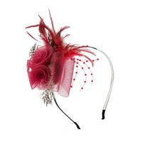 Wholesale Burlesque Fascinator - Feather Hair Band Fascinator Headband Flower Rhinestone Wedding Masquerade Retro Vintage Burlesque Lady's Accessories Lady's Accessories