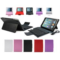Wholesale Ipad Mini Keyboard Case Cover - Bluetooth Wireless Keyboard For iPad Mini 1 2 Ipad Air 5 Protective Slim Lined Leather Case For The Ipad With Keyboard Built-in 10 Pieces