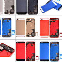 Wholesale Iphone 5c Colorful Case - For iphone 5g 5s 5c Colorful Metal Back Battery Door Housing Cover Case with USB Charging Port Flex & Power Flex Cable & Speaker small parts
