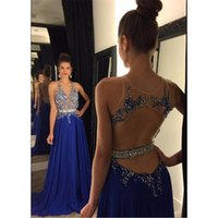 Wholesale Sexy Evening Dresses For Women - Modest Beaded Sheer Prom Dresses Royal Blue Backless Formal Evening Gowns For Women A-Line Chiffon Party Dress 2017