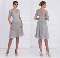 Wholesale dresses for mothers bride for sale - Group buy 2017 Sexy Illusion Mother of Bride Dresses Short Sleeve Knee Length Silver Lace Appliques Chiffon Evening Dress Mother Dresses For Wedding