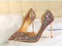 Wholesale White Glitter Tips - 2017 NEW Summer women shoes sexy nightclub thin women's heel high heel shallow tip side hollow sequins single shoes sandals