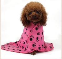 tiro de la pata del gato al por mayor-5 unid Paw Print Pet Cat Dog Fleece Soft Manta tira 60 * 70 cm Warm Paw Print Cat Dog Puppy Fleece Suave Manta Cama Mat p98