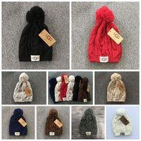 Wholesale Knitted Pom Beanie - Knitted Hat Knit Beanie With Pom Pom Crochet Winter Beanies Chunky Cable Caps 8 Colors LJJO3138
