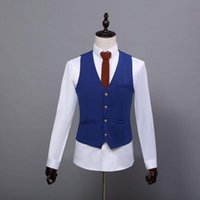 Wholesale Royal Blue Waistcoat - 2017 Summer Farm Wedding royal Blue Tweed Vests Custom Made Groom Vest Slim Fit Mens Suit Vest Prom Wedding Waistcoat