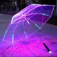 Wholesale Light Up Umbrella Wholesale - New 8 Rib Light up Blade Runner Style Changing Color LED Umbrella with Flashlight Transparent Handle Straight Umbrella Parasol